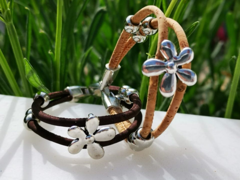 "Bracelet liège naturel ""Flower"" color edition"