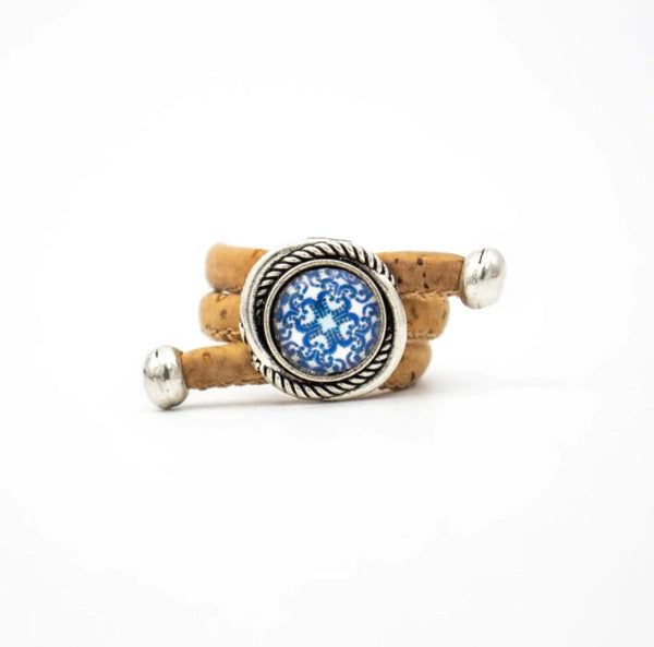 "Natural cork ring ""Blue Azules"""
