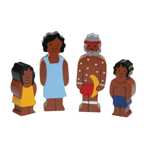 Aboriginal Family Wooden Set of 4