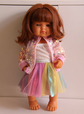 Pink Sequin Jacket, Singlet and Rainbow Skirt Set