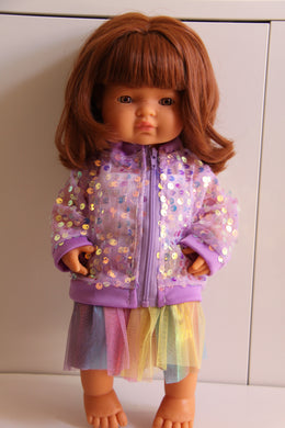 Purple Sequin Jacket, Singlet and Rainbow Skirt Set