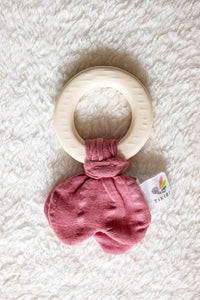 Natural Rubber Teether with a Dusty Pink Muslin Tie