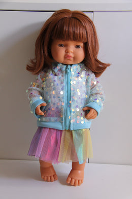 Blue Sequin Jacket, Singlet and Rainbow Skirt Set