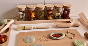 Spice Jar with Wooden Base Set 7pce