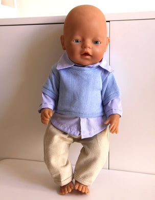 Blue Shirt, Pants and Jumper Set