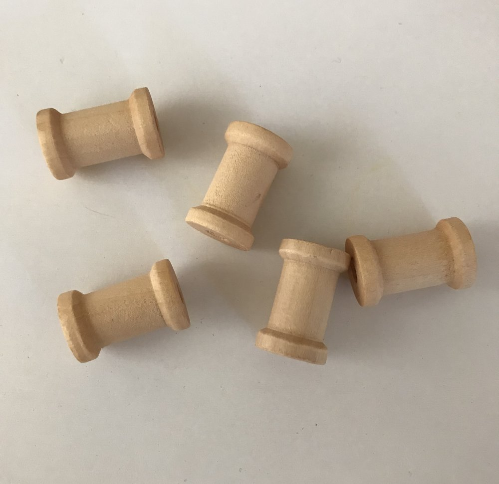 5 Small Wooden Spools