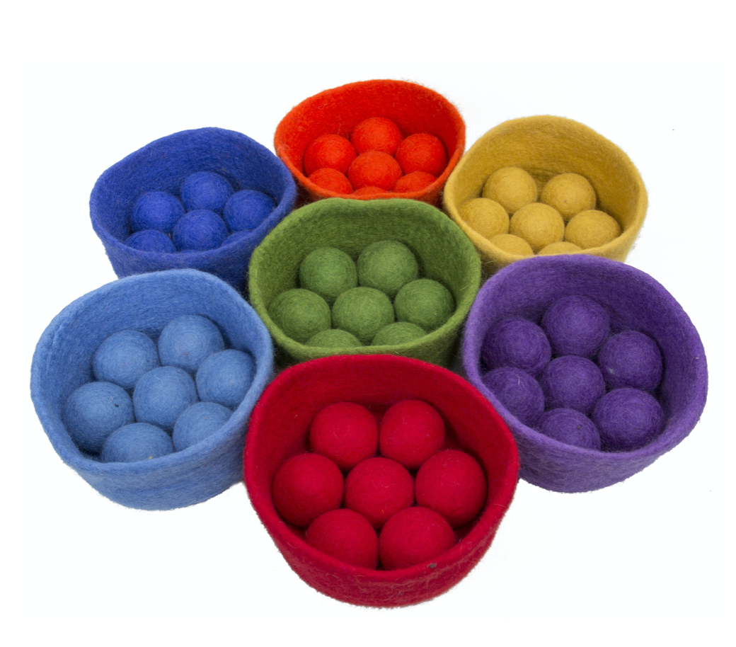 3.5cm Rainbow Felt Balls and Bowls Set/ 56pc