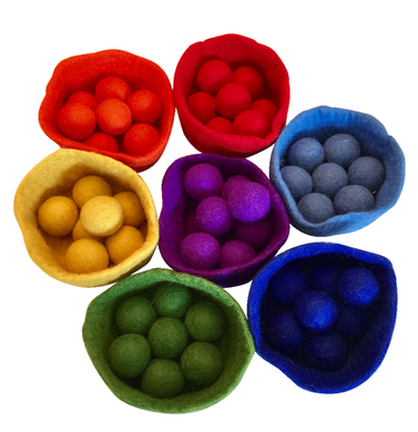 5cm Rainbow Felt Balls and Bowls Set/ 56pc