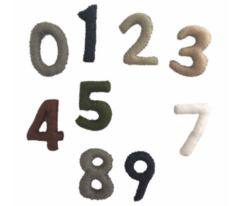 Numbers 0-9 Natural Felt