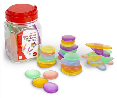 Junior Rainbow Pebbles- Jar of 36: Clear
