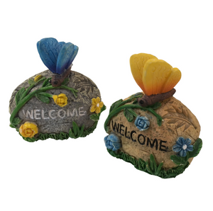 Welcome Stone with Butterfly