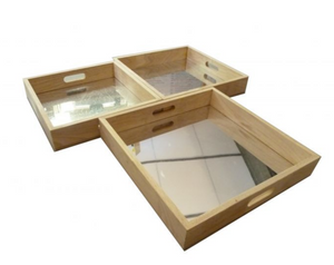 Square Mirror Trays Set of 3