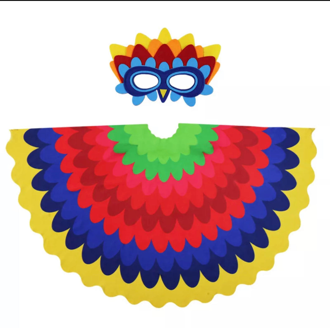 Bright Peacock Wings and Mask