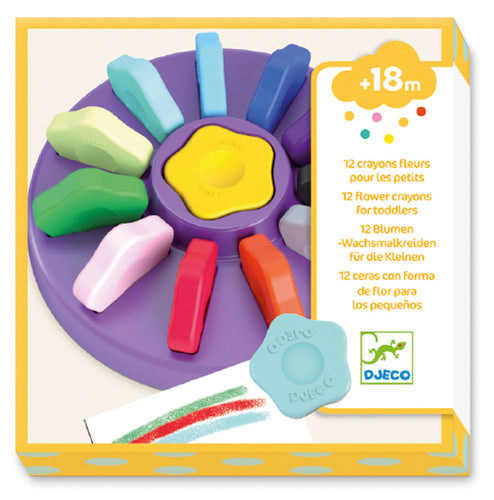 12 Toddler Flower Crayons