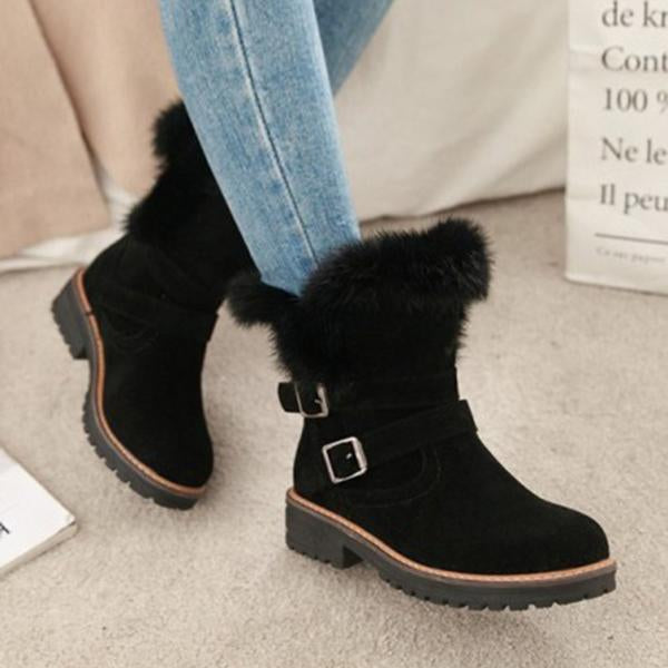 Freeinshop Round Toe Chunky Double Buckle Ankle Boots