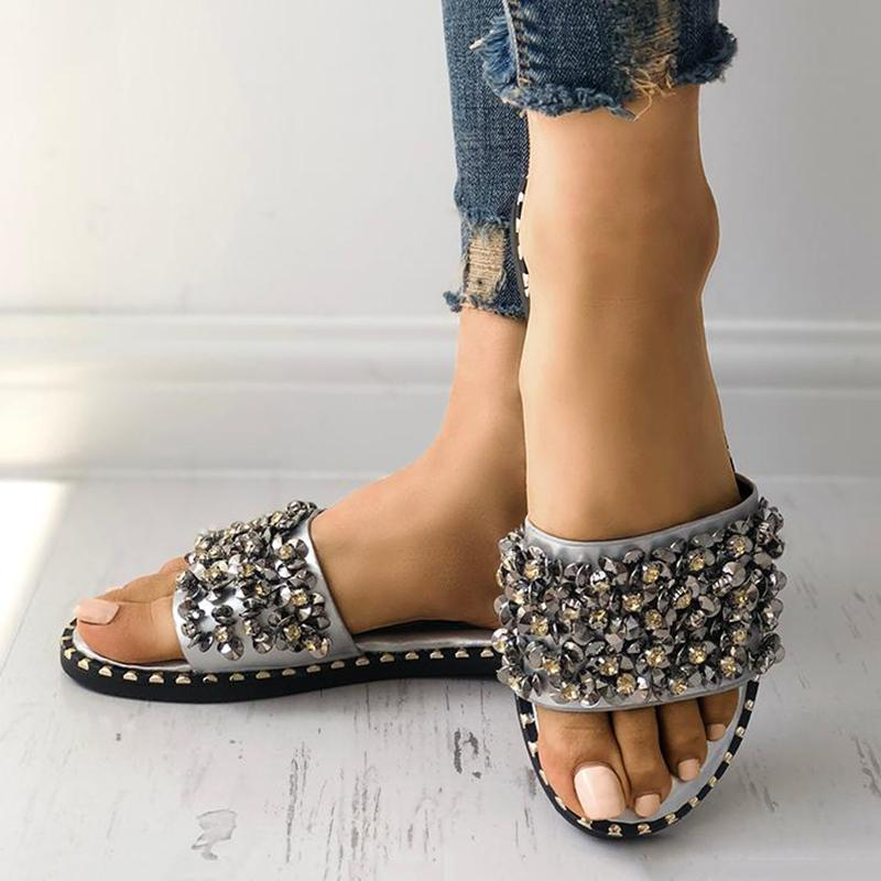 Freeinshop Sequins Shiny Peep Toe Slippers
