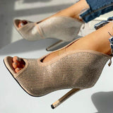 Freeinshop Studded Detail Peep Toe Thin High Heels