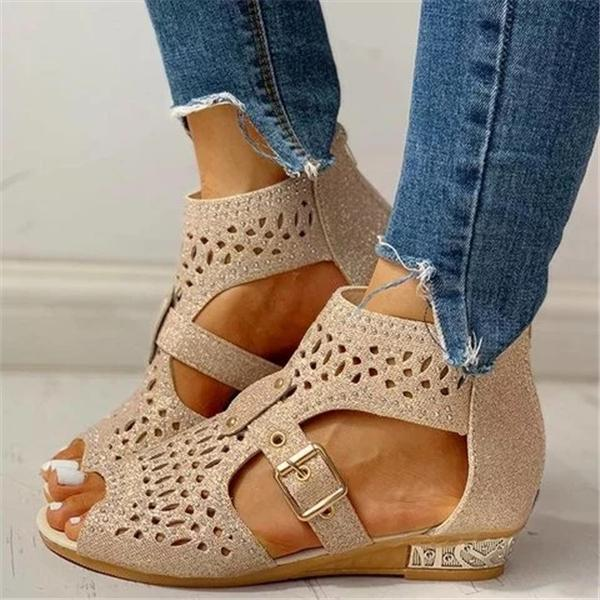 Freeinshop Studded Hollow Out Peep Toe Buckled Sandals