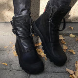 Freeinshop Comfortable Pu Leather Ankle Boots Low Heel Zipper Boots