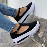 Freeinshop Women Fashion Platform T-Shaped Design Casual Sandals