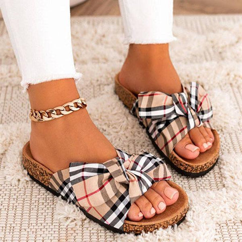 Freeinshop Women Comfy Classic Plaid Summer Sandals
