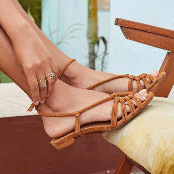 Freeinshop Flat Heel Summer Sandals