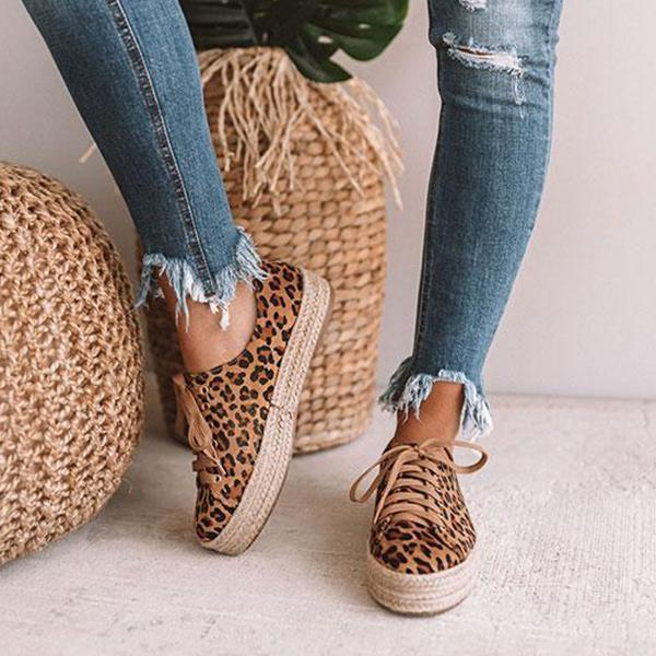 Freeinshop Daily Leopard Lace-up Espadrille Sneakers