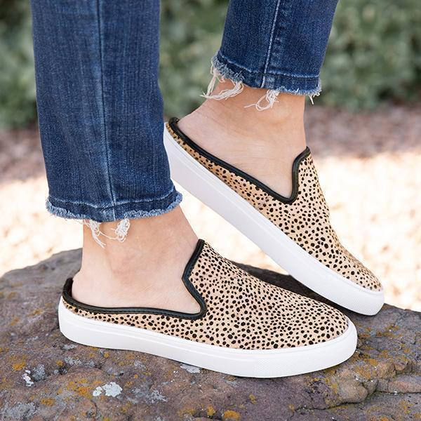Freeinshop  Leopard&Camouflage Flats Canvas Sneakers