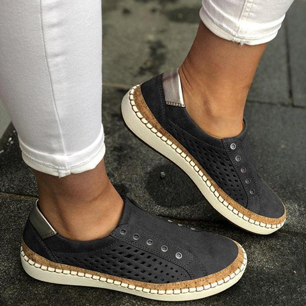Freeinshop Women Casual Slip On Hollow-Out Sneakers