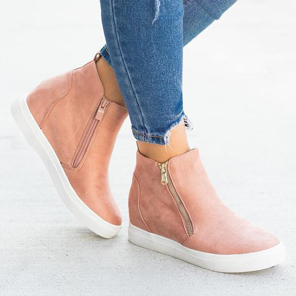 Freeinshop Zippered Fashion Wedge Sneakers