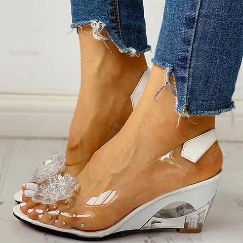 Freeinshop Studded Flower Design Transparent Wedge Sandals