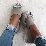 Freeinshop Gray Platform Rhinestone Holiday Flats & Sneakers