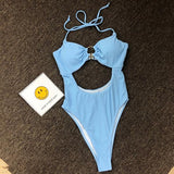 Freeinshop Summer Solid Color One-piece Ring Swimsuit