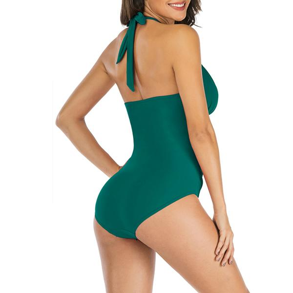 Freeinshop Slim Halterneck One-piece Swimsuit
