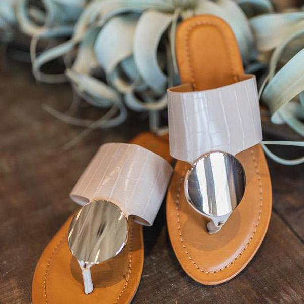 Freeinshop Open Toe Mirror Decoration Thong Sandals