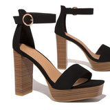 Freeinshop Adjustable Ankle Buckle Wood-Like Platform Chunky Heels