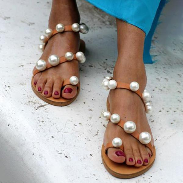 Freeinshop Looped Ankle Straps Chunky Pearl Studs Sandals