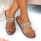 Freeinshop Fashion Embellished Shiny Open Toe Slippers