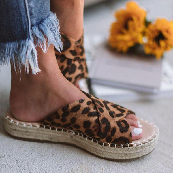 Freeinshop Fashion Tess Leopard Espadrille Sandals