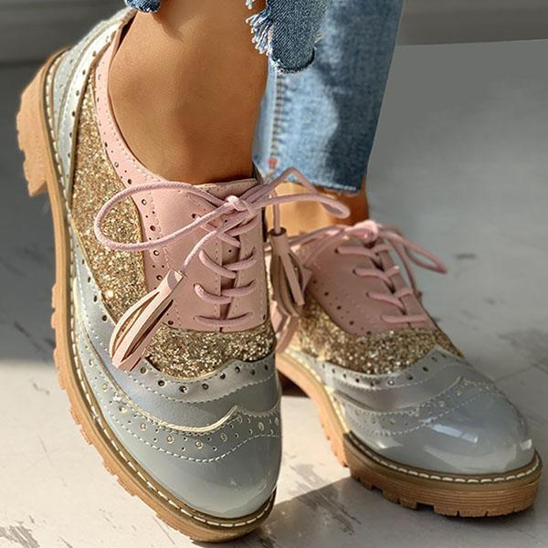 Freeinshop Lace-Up Sequins Insert Chunky Heeled Boots