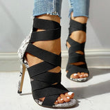 Freeinshop Lace-Up Bandage Patchwork Snakeskin Thin Heeled  Heels