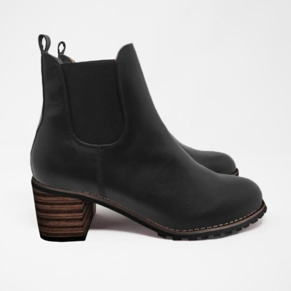 Freeinshop Chunky Cleated Heel Chelsea Boots