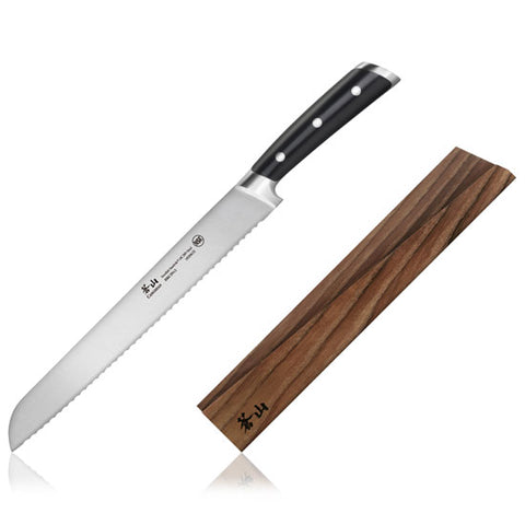 Cangshan TS Series 1020649 Swedish Sandvik 14C28N Steel Forged 26 cm Bread Knife And Wood Sheath Set - Cangshan Cutlery Australia