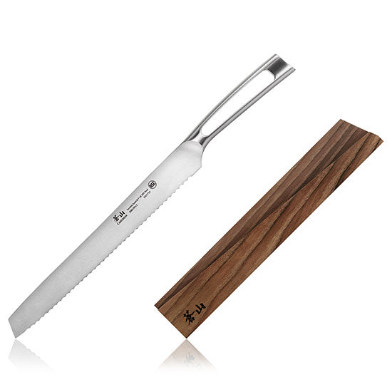 Cangshan TN1 Series Swedish Sandvik 14C28N Steel Forged 26 cm Bread Knife And Wood Sheath Set - Cangshan Cutlery Australia
