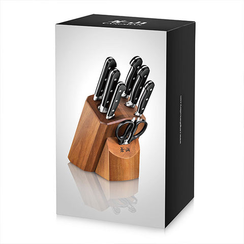 Cangshan TV2 Series 1023039 Swedish Sandvik 14C28N Steel Forged 8-Piece Knife Block Set, Acacia - Cangshan Cutlery Australia