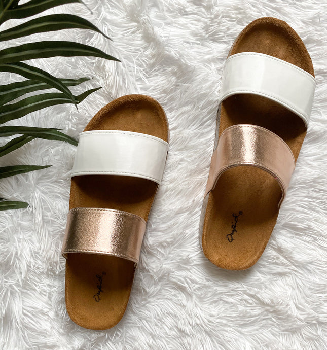 GOLD AND WHITE SLIDES