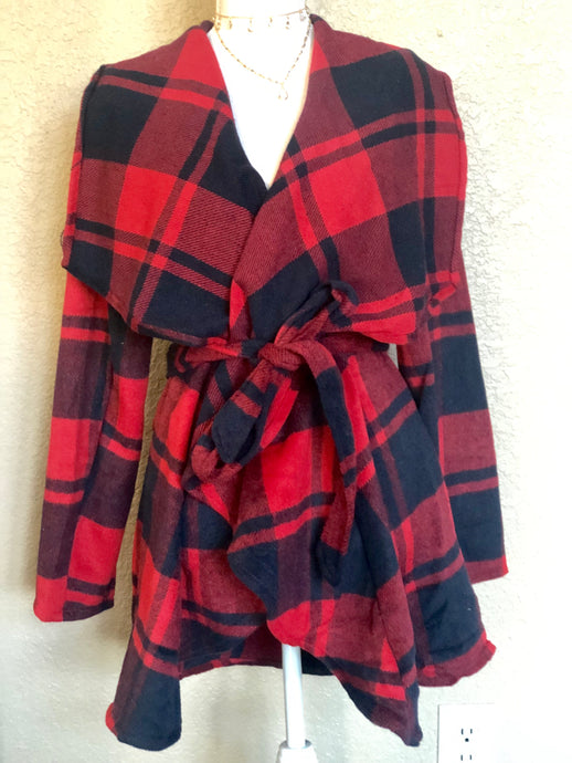 BLUE AND RED FLANNEL COAT
