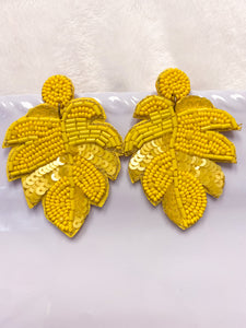 YELLOW PALM EARRING