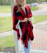 Load image into Gallery viewer, RED AND BLACK PONCHO