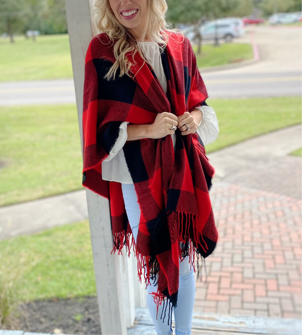 RED AND BLACK PONCHO